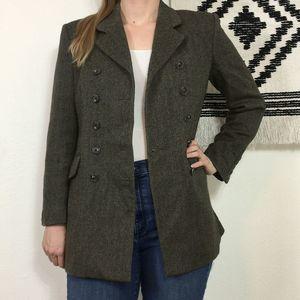 J. Peterman Herringbone Tweed Wool Peacoat